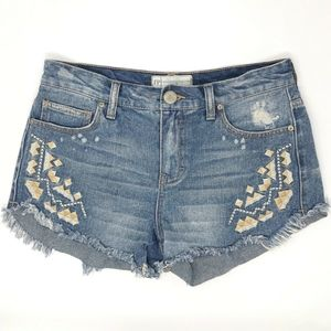 FREE PEOPLE Distressed Cut Off Jean Shorts 25